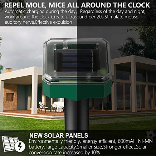 Vivibel 4 Stück Solar Maulwurfabwehr, Ultrasonic Solar...