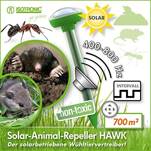 ISOTRONIC Solar Maulwurfschreck 3er Set Wühlmausfrei...